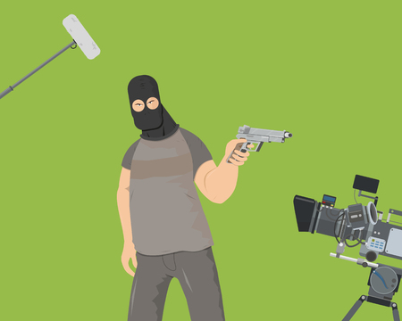 The actor plays the role of an armed villain in the film. Special camera shooting on a green background Vector illustration Illustration