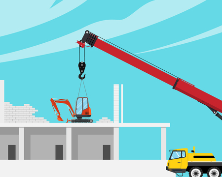 A mini excavator was placed on the roof of the house with a crane to break the house. Vector illustration.