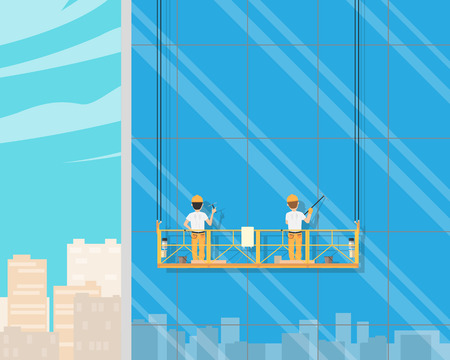 Workers wash on the outer wall of the window house in cradle. Vector illustration
