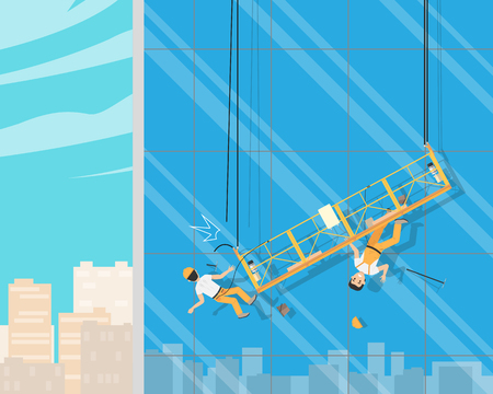 Workers cleaned the windows when the cable broke. Cleaning service. Vector illustration Illustration