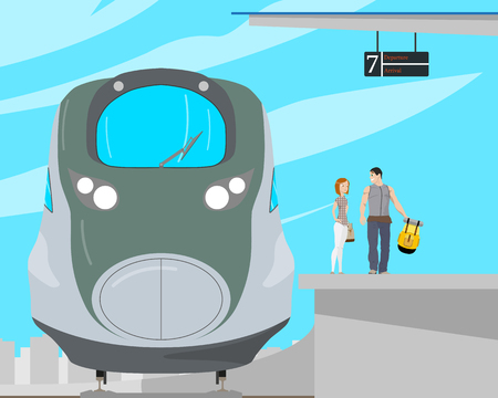 highspeed: A young couple of tourists are standing on a platform near a high-speed train. Vector illustration