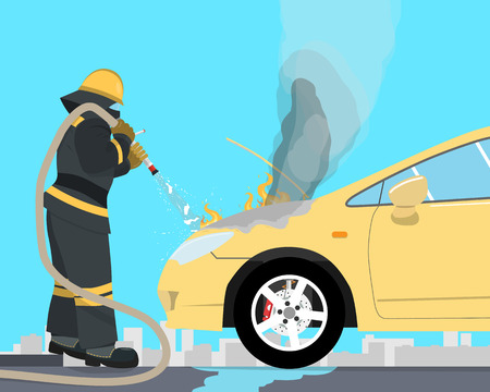 The fireman extinguishes a car that burned up from the short circuit of wiring. Vectorial illustration
