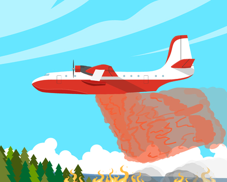 A fire plane extinguishes a forest fire high in the mountains. Vector illustration Stock Photo