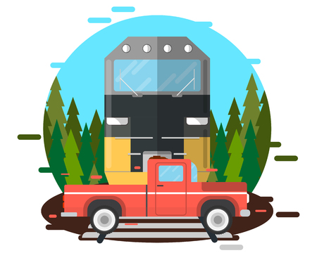 The driver tried to drive before the train, but the train knocked the car down. Vector illustration