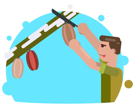 tree service pictures: A man cuts a cocoa fruit with a knife. Harvesting. Vector illustration