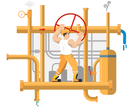 The worker blocks strong pressure in the pipes. Vector illustration
