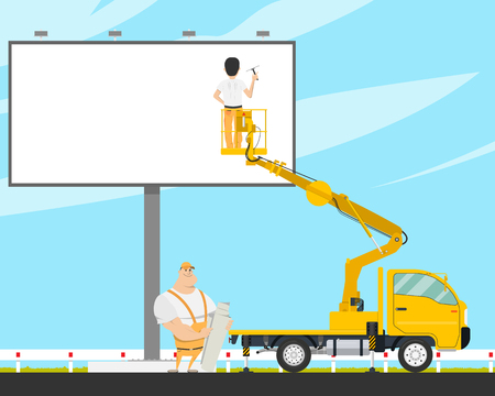 Workers with the help of an automobile tower change a poster on a billboard. Vector illustration