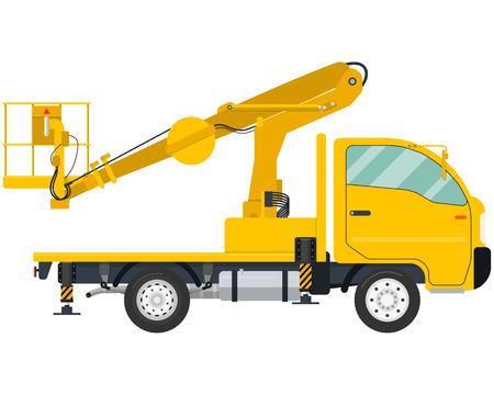 Lokalisierte moderne LKW-angebrachte Antennenplattform auf einem weißen Hintergrund. Vektor-Illustration