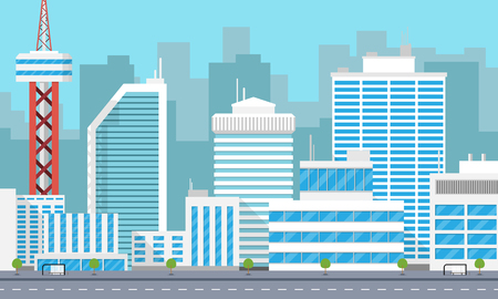 Panorama of a large modern city with skyscrapers vector illustration.
