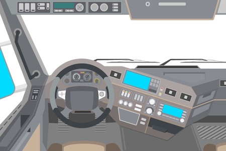 View from an isolated cab of a truck vector illustration. Stock Illustratie