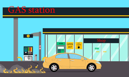At the gas station because of a malfunction there was a fire. Vector illustration  イラスト・ベクター素材