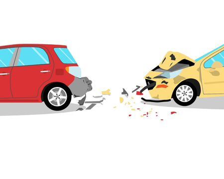 The driver did not have time to brake and crashed into two cars on the road. Isolated. Vector illustration Vetores