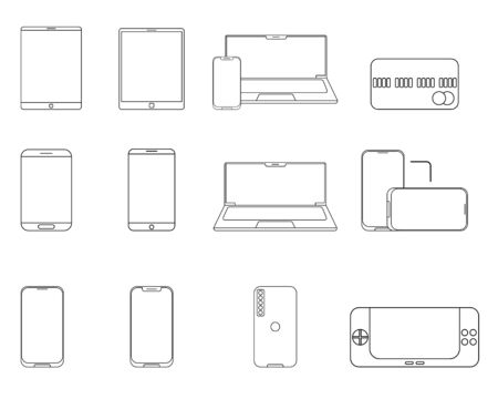 Thin line flat design. Set of digital gadget isolated on a white background. Vector illustration