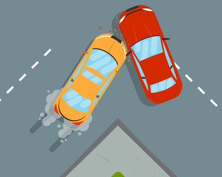 The driver did not have time to brake and two car crashed on the road. Vector illustration 向量圖像