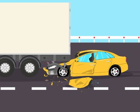 The driver was distracted by a phone call and did not notice the truck on the road. Vector illustration