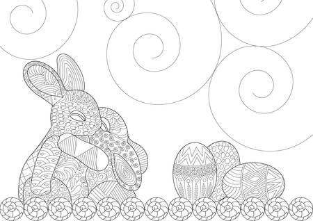 Easter Bunny Hugging Each Other in Happy Scene Vector Illustration