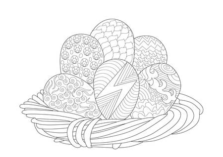 Easter Basket with 6 Eggs in  Coloring Page