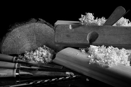 Shaving plane wooden shavings hammer flat chisels construction concept. Stock Photo
