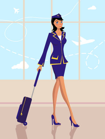flight crew: young stewardess