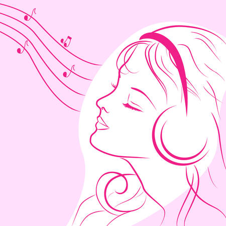 music listening: young woman is listening music