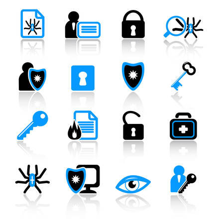 bug key: anti-virus icons Illustration