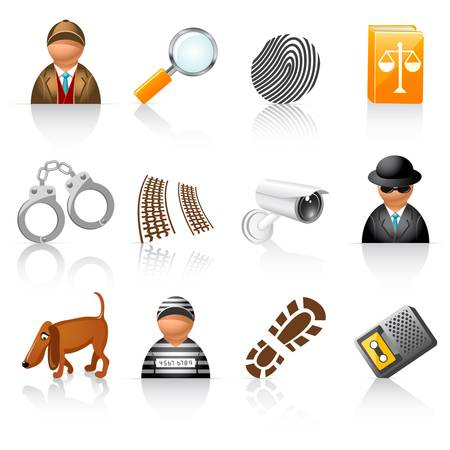 icon set for detective agency Illustration
