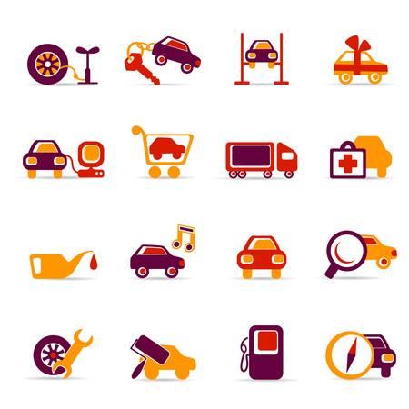 예비의: 자동차 서비스 아이콘 일러스트