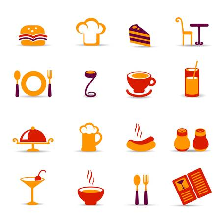 ham sandwich: restaurant icons Illustration