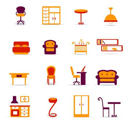 armarios: Iconos de muebles Vectores