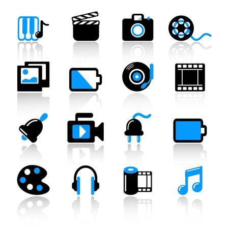 multimedia icons Stock Vector - 9895915