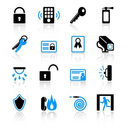 sensores: Iconos de seguridad Vectores