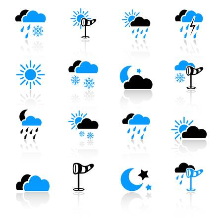 sunny cold days: Weather icons Illustration