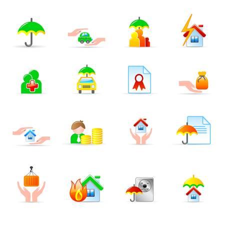 property insurance: Iconos de seguros Vectores