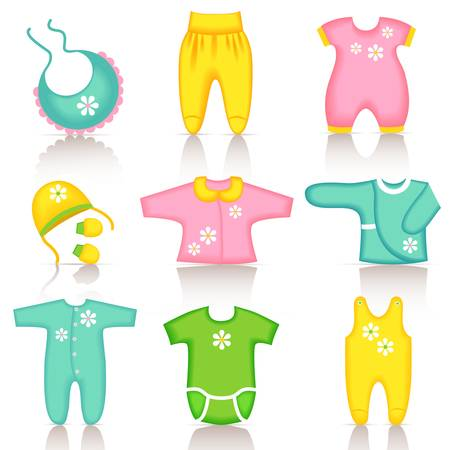 babero: Iconos del bebé ropa Vectores