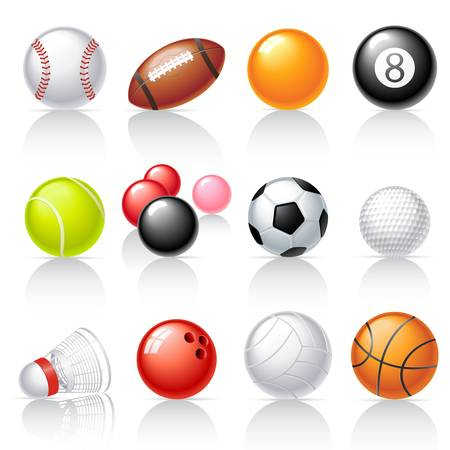 Sport equipment icons. Balls. Vectores