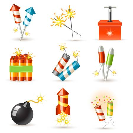 pyrotechnic icon set Vector