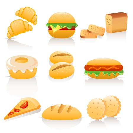 bakery products: bread collection Illustration