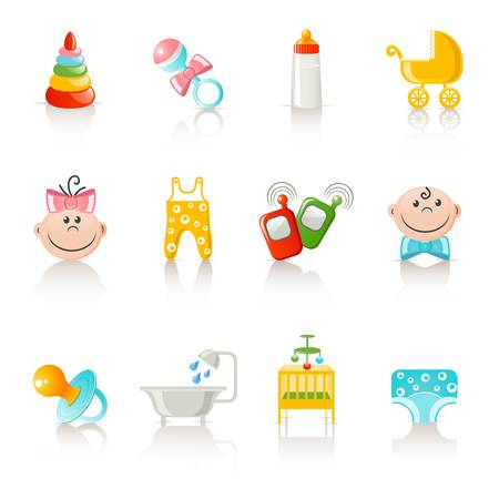 sitter: baby clothing and accessories icons