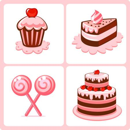 sweet cakes  Vectores