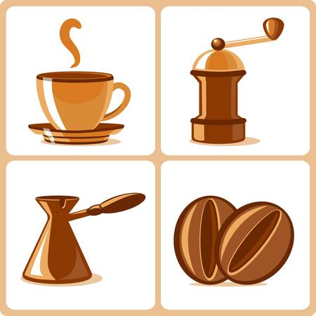 coffee beans isolated: coffee and accessories  Illustration