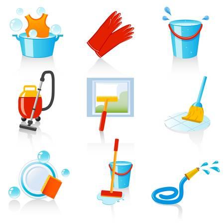 barren: iconos de limpieza Vectores