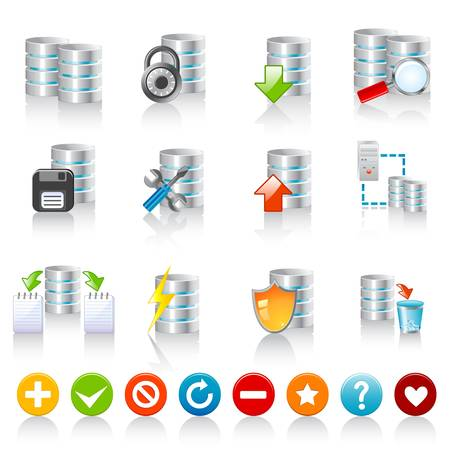 Database icons Stock Vector - 12029443