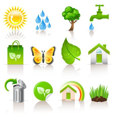 ecologisch concept iconen Stock Illustratie