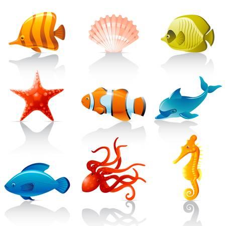 peces caricatura: Fauna del Mar Vectores