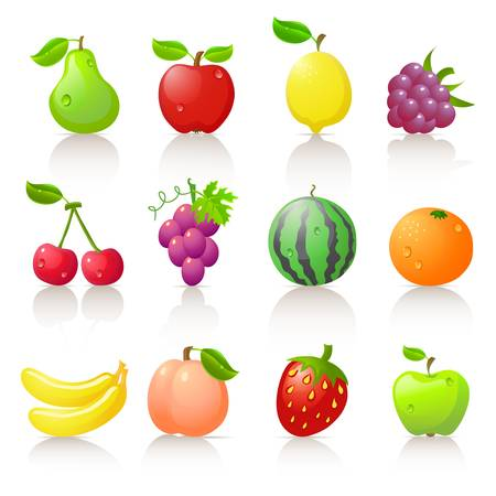 Fruit iconen Stock Illustratie