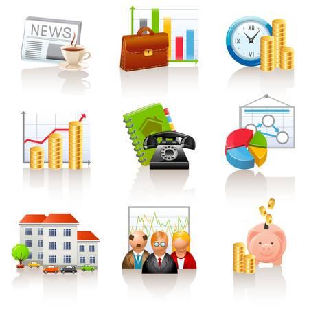 economie: Zakelijke en financiële pictogrammen Stock Illustratie
