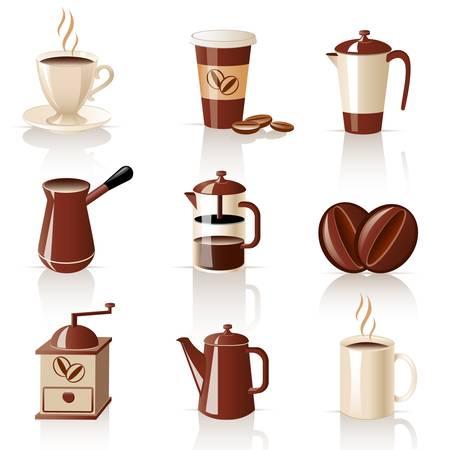 kettles: juego de caf� Vectores