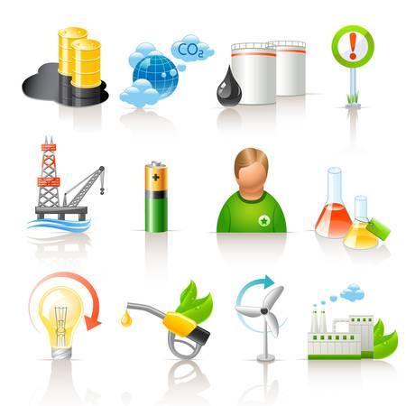 contaminacion del medio ambiente: la ecolog�a y el combustible iconos