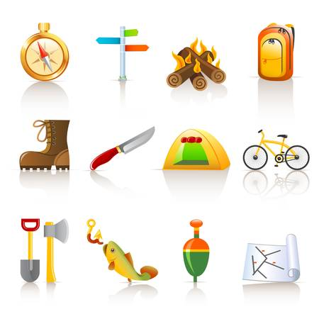 camping icons Stock Vector - 12326738
