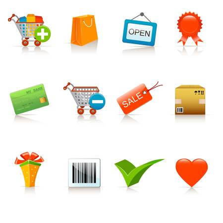 add to basket: Shopping icons  Illustration